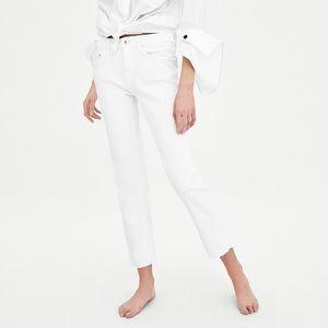 ZARA TRF Straight Leg White Denim Jeans